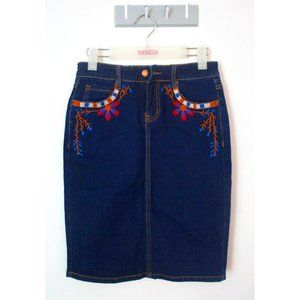 BNWT PQ Denim Pencil Skirt Size S Floral Flower Embroidered Spring